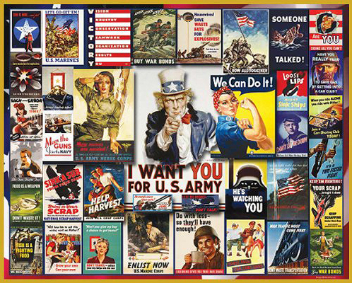 WWII Poster Collage 1000-piece Jigsaw Puzzle